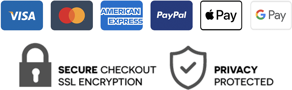 Payment Methods: Visa, Mastercard, American Express, Paypal, Apple Pay, Google Pay. Secure Checkout SSL Encryption. Privacy Protected.